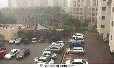 Shot of Rain in Ramat Aviv - Hachadasha, Ramat, Tel-Aviv,...