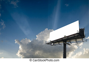 Blank double back to back billboard with sun beam bursts in...