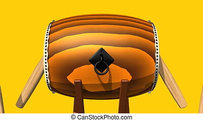 Loopable Asian Drum And Sticks On Yellow Background.