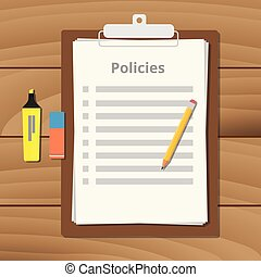 policies policy document checklist list with clipboard paper...