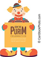 happy purim, jewish holiday. clown holding greeting poster