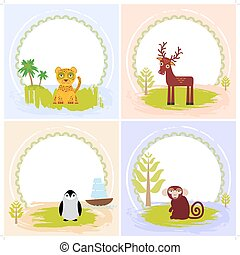 deer, bird penguin, jaguar, leopard,, set of cards design  with funny animals, template banner for your text with round frame. Vector