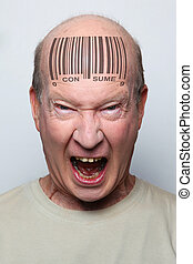 bar code man - Angry consumer with a bar code on his...