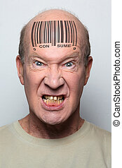 consumer - Angry consumer with a bar code on his forehead