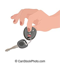 Hand holding car key and remote entry fob isolated on white...