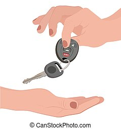 Hand holding car key isolated on white, vector illustration