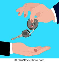 Hand holding car key, vector illustration