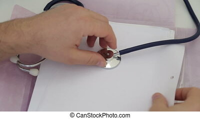 Shot of Doctor Review patient complain - hand, office,...