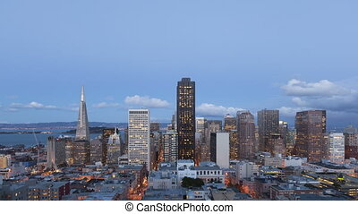 4K Time lapse zoom in San Francisco Twilight to night - 4K...