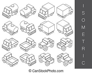 Isometric transport icon set.