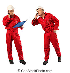 inspector in red uniform and white hardhat at work