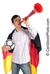 German soccer fan - A german soccer fan. All isolated on...