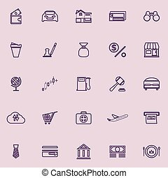 E wallet line icons purple color, stock vector