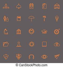 Job resume line icons orange color