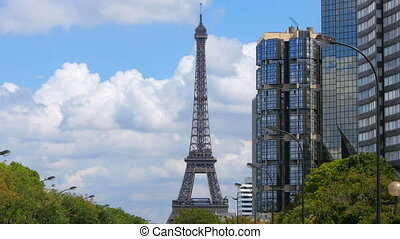quot;daily life in france with eiffel tower view, 4kquot; -...