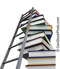Conceptual 3d model stack of books and a ladder on white...