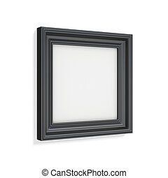 Square black picture frame on white background 3d rendering...