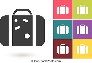 Suitcase vector icon - Suitcase icon or suitcase drawing...