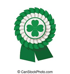 Ribbon rosette with four leaf clover cartoon icon