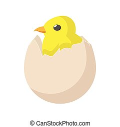Yellow newborn chicken hatched from the egg icon