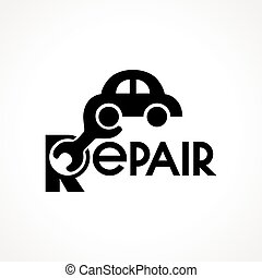 logo with spanner and car