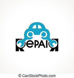 logo with spanner and car.