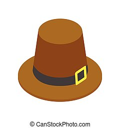 Pilgrim hat isometric 3d icon on a white background