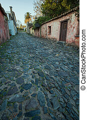 Colonia old town - Cobblestone streets and low houses in...