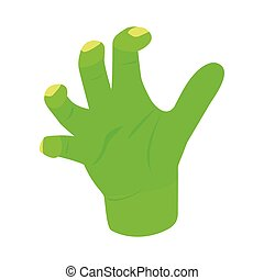 Witchs green hand isometric 3d icon on a white background