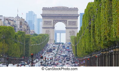"""champs elysees view with traffic, day time, paris, france,..."