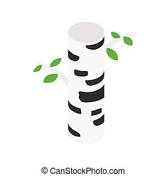 Birch tree isometric 3d icon on a white background