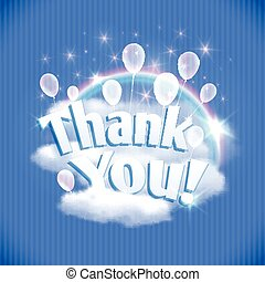 Thank You card with balloons, clouds and rainbow. Vector...