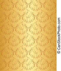 Gold floral seamless pattern