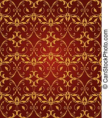 Seamless red & gold floral pattern