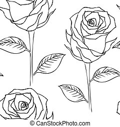 Seamless roses outline pattern