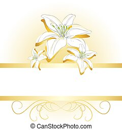 Elegant background with lilies - Elegant card ackground...