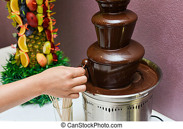 Chocolate fountain and fruits - chocolate fountain and fruit...