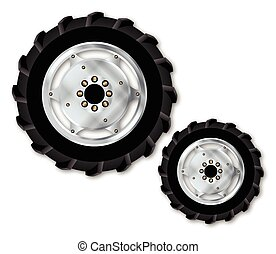 Front And Rear Tractor Wheels - Front and rear wheels from a...