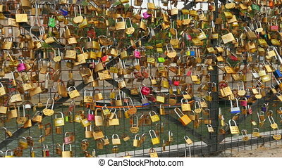 """love lock bridges near notre dame de paris, france"""