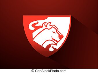 cow logo with fire symbol - cow logo with fire in shield...
