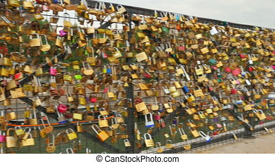 quot;love lock bridges near notre dame de paris, francequot;...