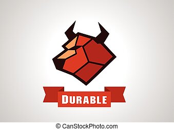 Durable Cow logo. - cow illustration logo with polygon style