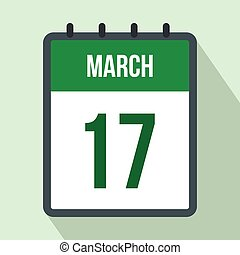 Calendar with St. Patricks Day date flat icon