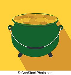 Green pot full of gold coins flat icon