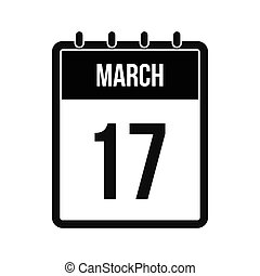 Calendar with St. Patricks Day date icon