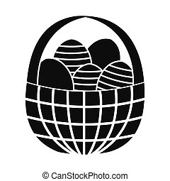 Easter eggs in the basket icon
