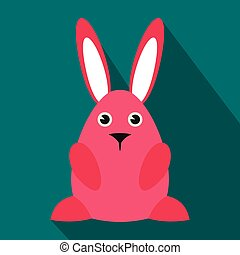 Pink easter bunny flat icon