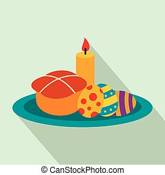 Easter cake with eggs and burning candle flat icon