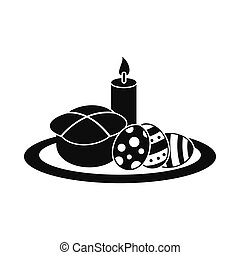 Easter cake with eggs and burning candle icon