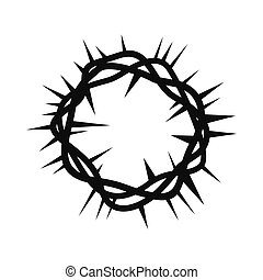Crown of thorns black simple icon isolated on white...